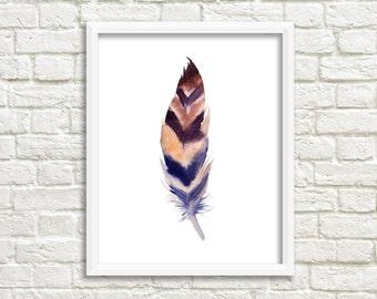 printable art Feather print, watercolor feather Art, boho wall art, Feather Printable, boho nursey decor, feather nursery, tribal nursery