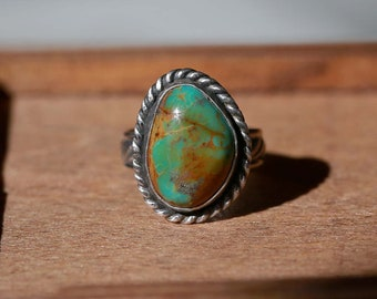 King's Manassa Turquoise Ring, Sterling Silver Ring - Size US 6.5