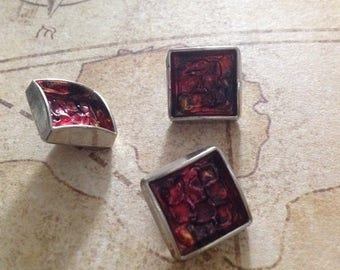 Set of three square buttons, vintage 50s - 60s