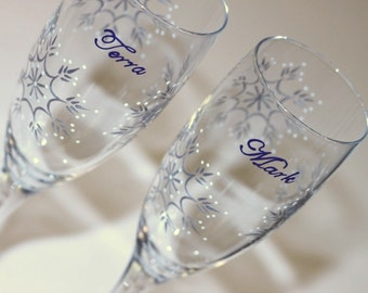 Snowflake Champagne Flutes, Winter Wedding Toasting Glasses, Bride, Groom, Mr. Mrs., Custom, Dated, Cobalt Blue, Silver, White