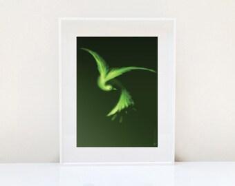 Green Bird Print ( Bird Art Nature Art Animal Print Green Home Decor Wall Art Zen Decor Minimalist Decor Animal Decor Gift for Bird Lovers )