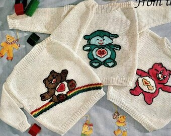 Babies Care Bears, And mouse Babies Jumper Knitting Pattern pdf, 3 to 9 months (bears)18 to 24 months(mickey)