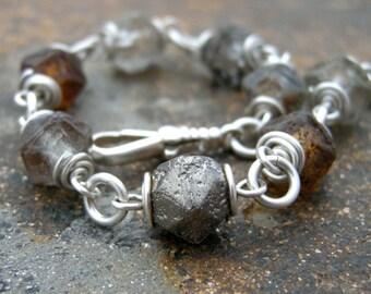 glass bead bracelet, czech glass beaded bracelet, glass and sterling silver bracelet, wire wrapped bracelet