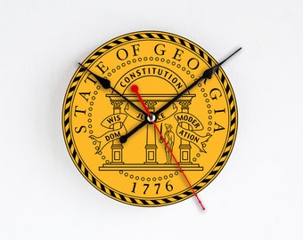 Georgia State Wall Clock Orange Blue Wall Decor Home Decor USA States Rare Gift Handmade Clock Gift for Hostess Houseware