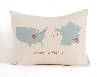 Personalized Map Pillow, Gift for Him, Gift for Her, Cotton Anniversary, 2nd Anniversary, Linen Anniversary gift, Countries or States Pillow