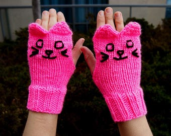 Pink Knit Cat Fingerless Gloves - Bright Pink Knitted Cat Gloves - Vegan Animal Fingerless Gloves - Knit Animal Gloves Knit Pink Cat Gloves