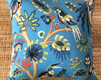 exotic blue parrot outdoor cushion, parrot cover, retro 45x45 cover, tropical cushion