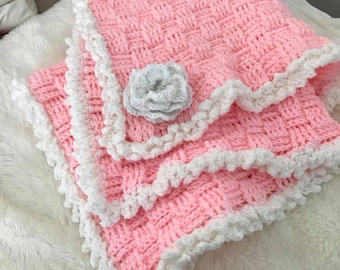 Pink Baby Afghan with White Trim and Flower