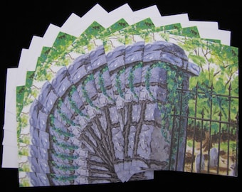 Decatur Cemetery Gate 12 pc Blank Note Card Set with Envelopes