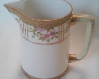 Antique 1911 Noritake Porcelain Hand Painted Floral & Gold Design Pitcher