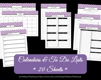 PINK - To Do List and Calendar Set-Perpetual Calendar-Household Binder-Chevron Printable -Do List-20 sheets-PdF-Day Plan- INSTANT Download