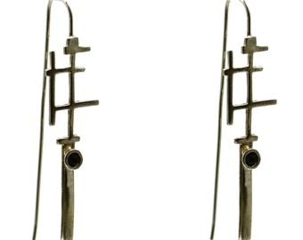 silver Geometry earrings, silver small earrings, silver stone earrings, gemstone earrings, earrings, silver earrings, silver drop earrings
