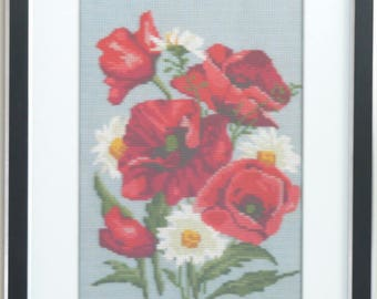 Poppies-4 cross stitch embroidered framed painting picture