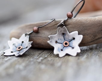 Silver Flower Earrings, Sterling Silver Earrings with Rivets, Mixed Metal Blossom Earrings, Oxidized Silver Dangle Earrings, Nature Jewelry