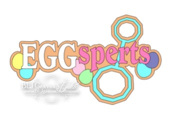 Premade Paper Piece Title Die Cut for Scrapbook Page Easter EggSperts Handmade 64