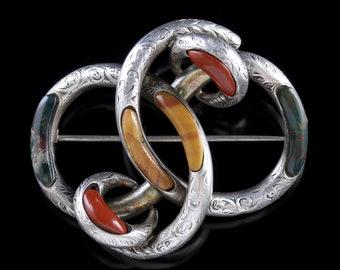 Antique Victorian Scottish Knot Brooch Silver Agate Circa 1860