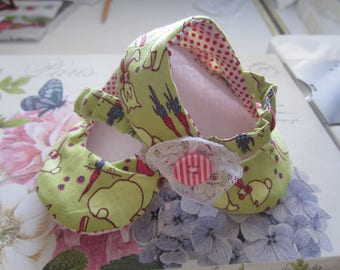HANDMADE BABY SHOES Mary Jane Style Easter Bunnies Ready To Ship Size 6-9 Months