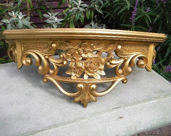 Large Vintage Gold Shelf