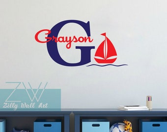 Personalized decal Nautical wall decal Sailboat  name wall decal Nursery bedroom Vinyl Wall Decor