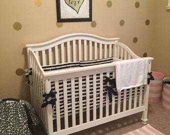 Black and white stripe crib bumper   metallic gold polka dot baby bumper   black and white stripe  crib bedding   gold nursery decor  