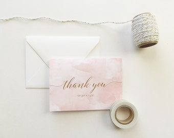 Blush Pink Watercolor Thank You Cards (set of 10) - Personalized thank you cards - thank you cards - custom thank you card
