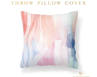 Modern Pillows Cover | Throw Pillow Cover | Throw Pillow | Abstract Pillow Cover | Pink | Blue | White | 16 x 16 | Pillow Cover