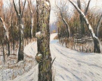 "Original Pastel Landscape Painting ""The Burly Tree"" 8x10"