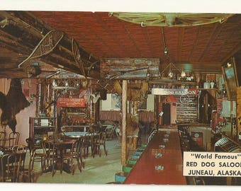 1960s Chrome Postcard- Interior View of Red Dog Saloon, Juneau, Alaska, AK.~ Free Shipping