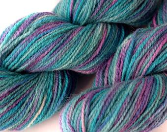 Hand dyed yarn - Merino - Tussah silk - Lace weight - 50g / 1.75oz - blue - purple - JEWELLY JULIE