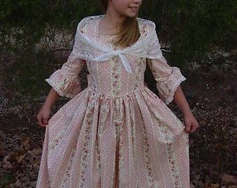 Handmade Historical Civil War Costume Victorian Colonial Pioneer Girl Dress -Pink Felicity- Adult Size