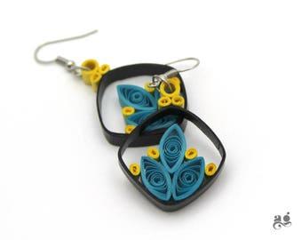 Blue Paper Earrings, Statement Earring, Comfortable Dangle Earrings, Blue Black Yellow earrings, Comfortable unique earring, Paper Quilling