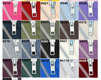 WHOLESALE YKK Jacket Zippers- 5 inch to 13 inch YKK Zipper  Number 5 Aluminum Metal - Medium Weight Separating  (Select Length and Color)