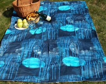 Picnic blanket Blue Trees grey white stars Waterproof  XL picnic blanket and BAG , outside beach summer cotton picnic blanket, Eco GIFT