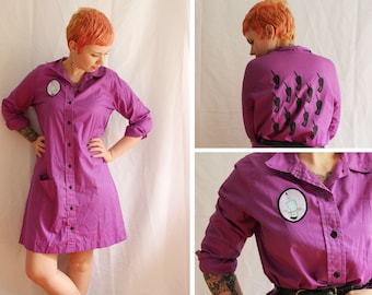 Feminist Middle Finger OOAK Up-cycled Shirt Dress