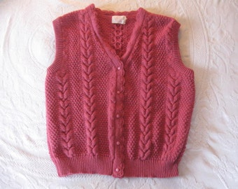 Knit Sweater Vest Size Large Ladies Sweater Vest, Vintage Vest