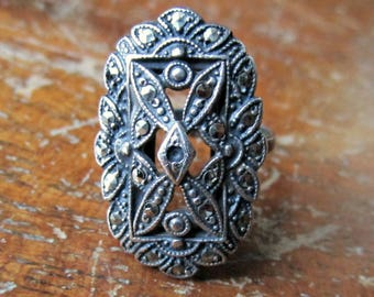Antique 1920s Marcasite Ring - Sterling Silver - Art Deco Era - Adjustable - Cocktail Ring