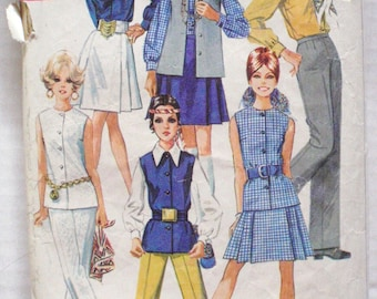 1960's Mod Sewing Pattern - Skirt, Blouse, Pants and Sleeveless Jacket - Simplicity 8045 - Size 14, Bust 36