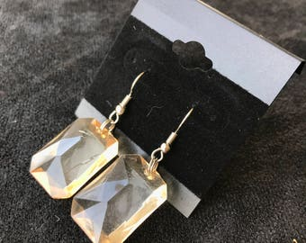 Clear with Yellow Tint Rectangular Earrings