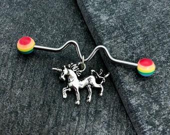 Sale......Unicorn Industrial barbell, body jewelry, 14 gauge stainless steel