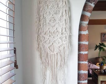 Antler Macrame wall hanging made with extra fine cotton rope - naturally shed antler - boho style - neutral tones - bohemian