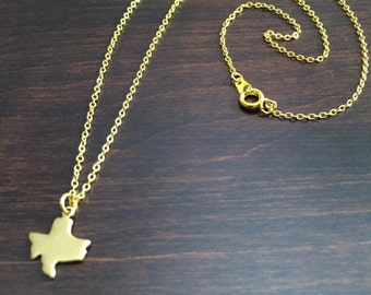Texas Necklace, Texas, gold Texas necklace, Texas jewelry, Texas pendant, gold Texas, state necklace, state jewelry, necklace, gold necklace