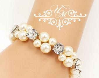 Wedding Jewelry Double strands Swarovski Pearl Swarovski crystal Bracelet Bridal Bracelet Bridesmaids Bracelet Rhinestone Bracelet - EDA