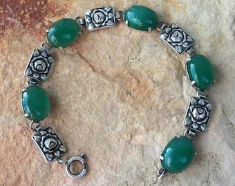 Art Nouveau Sterling Silver Chrysoprase flower bracelet