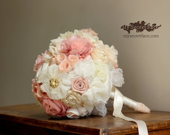 Bridal bouquet, ivory pink bouquet, wedding bouquet