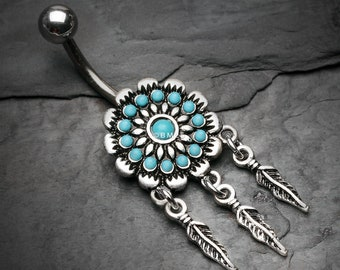 Turquoise Beaded Floral Feather Dangle Belly Button Ring - Aqua