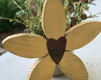 Country Yellow Flower With Tin Heart