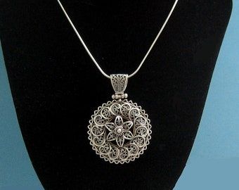 Turkish Sterling Silver Filigree Medallion Necklace