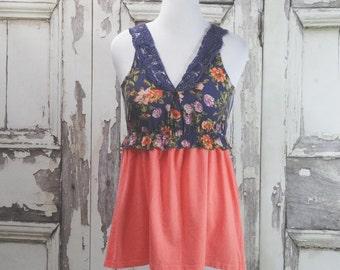 Peach and Purple, Upcycled Clothing, Tunic Dress, Boho Chic, Eco Fashion, Junk Gypsy Style