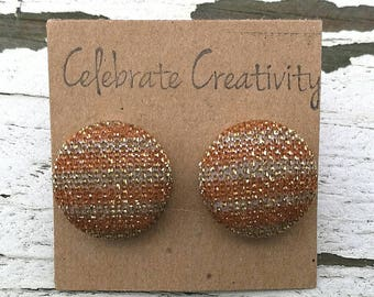 """Upcycled Fabric Covered Button Post Earrings - Glitter Gold Stripes Festive - 5/8"""""""