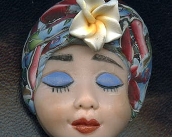 Polymer Clay One of a Kind     Detailed  Art Doll Face with abstract hatand porcelain flower.   FAB 5